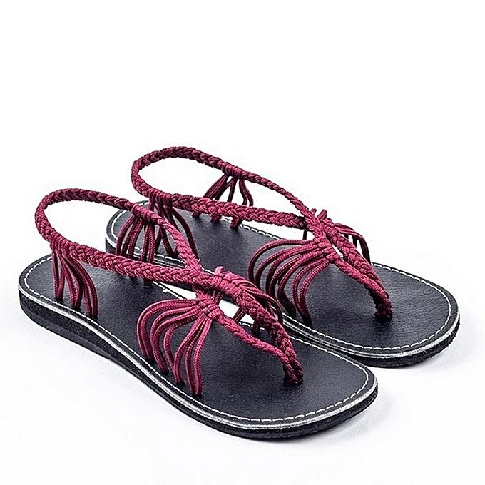Other mode Big Taille été nouveau Euro-America mode Leisure Knot Sandals-Burgundy à prix pas cher
