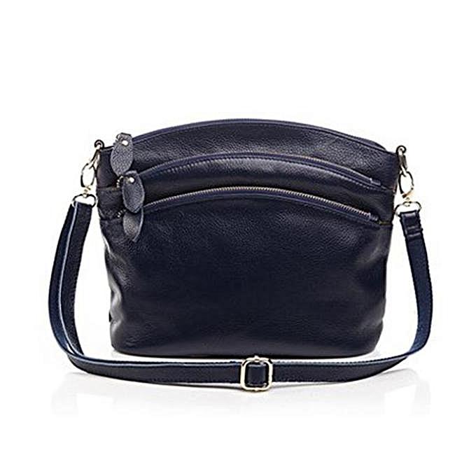 Fashion femmes Genuine Leather Shoulder Bag Multi Pocket Travel Crossboby Bag  Dark bleu à prix pas cher