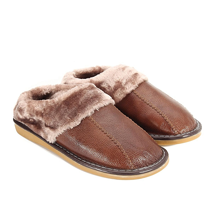 Fashion Winter Warm Fuzzy Cow Leather House Slippers for Men Fleece Lined Home chaussures-EU à prix pas cher    Jumia Maroc