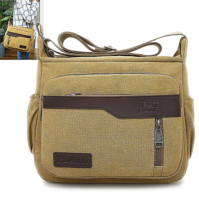 Fashion New hommes Canvas Single Shoulder Backpack Korean Version Waterproof Crossbody Bag Large Capacity Outdoor Leisure Travel Bag à prix pas cher