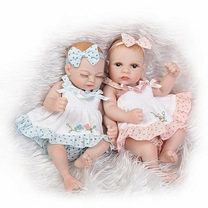 UNIVERSAL NPK 10 Inch 26cm Twins Reborn   Soft Silicone Doll Handmade Lifelik   Girl Dolls Birthday Gift- open eyes à prix pas cher