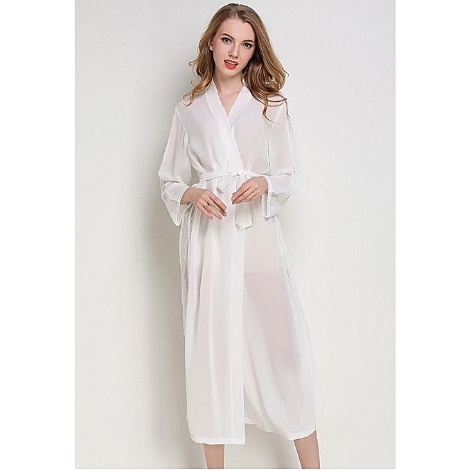 Robe longue en mousseline de soie   peignoir à manches longues mousseline   Kimono Robe de ee55d3d0164
