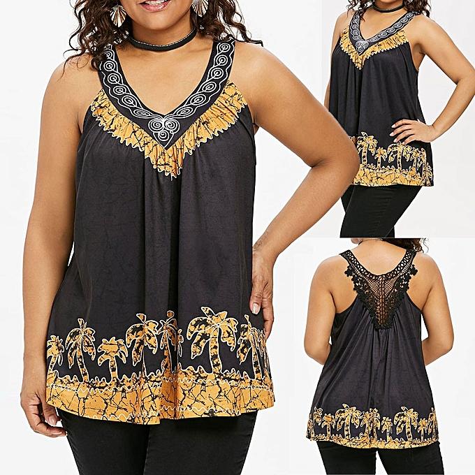 mode Hiamok mode femmes Plus Taille Sleeveless Palm Tree V Neck Back Lace Tank Top chemisier à prix pas cher