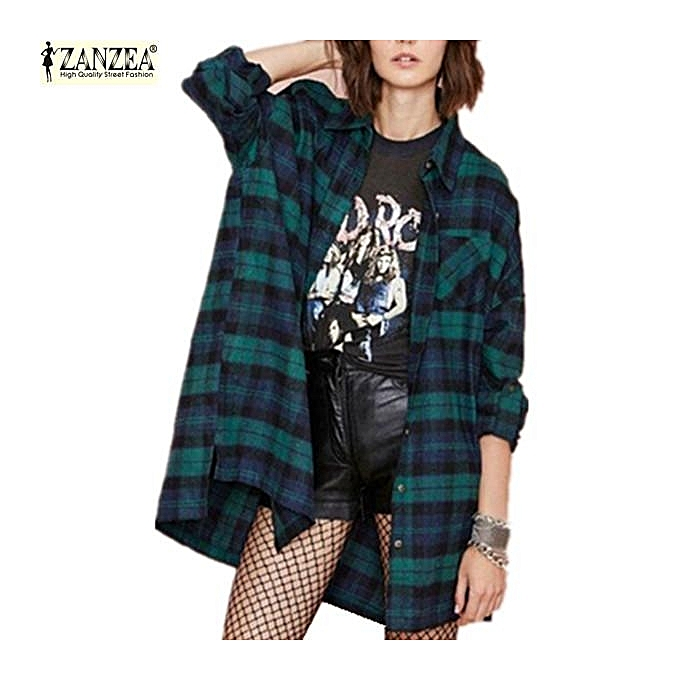 Zanzea ZANZEA Classic Plaid Blouse New Arrival femmes Casual Loose Long Sleeve Tops Turn-down Collar Shirts (vert) à prix pas cher