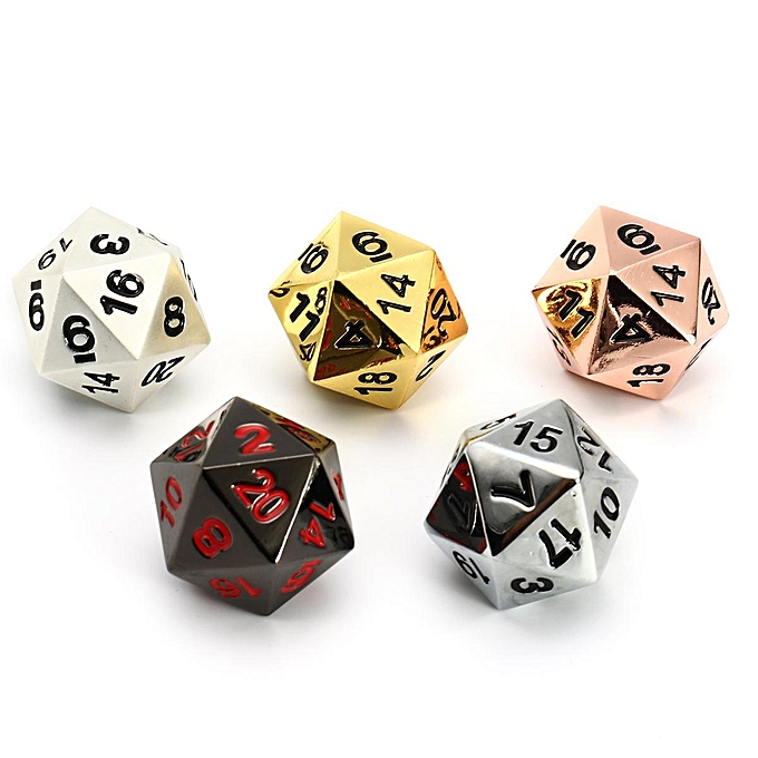 UNIVERSAL Solid Metal 5pc d20 Polyhedral Dice Set Copper, argent, or, Obsidian, Pearl à prix pas cher