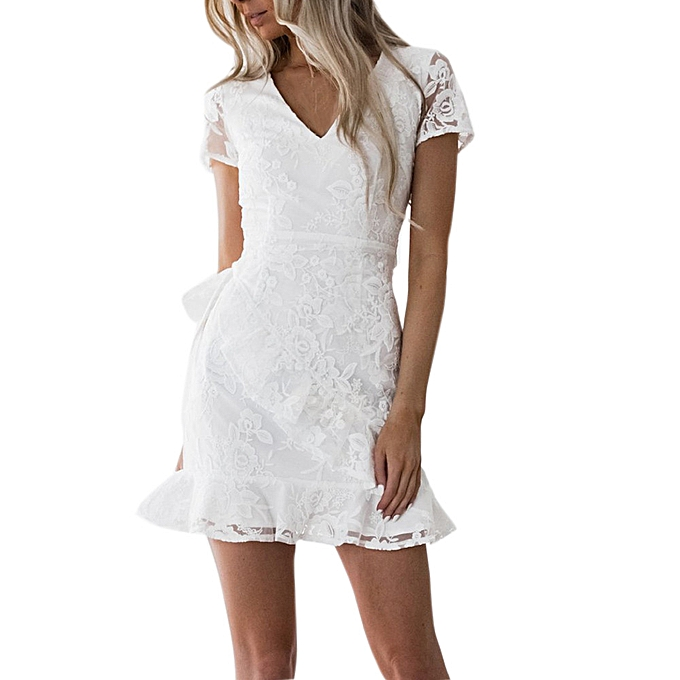 Fashion jiahsyc store femmes  V-Neck Solid Ruffled Back Embroiderouge Frill Hem Lace Mini Dress-blanc à prix pas cher