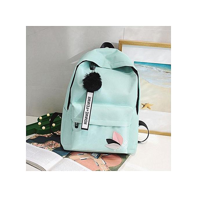Generic Fashion Neutral Backpack Bag Shoulder Canvas School Girls Boy Handbag vert à prix pas cher