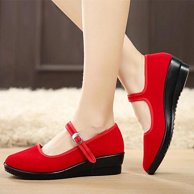 Fashion femmes Ladies Mid Wedge Heel Mary Jane Hotel Work Strap chaussures Ballet Cotton Flat rouge à prix pas cher    Jumia Maroc