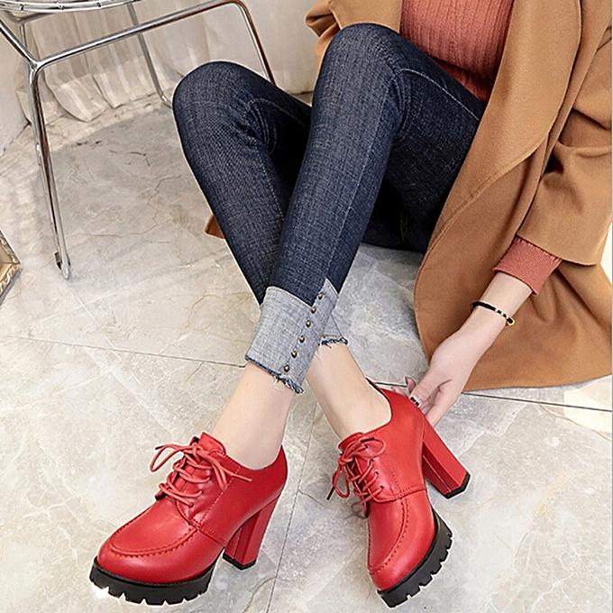 Fashion Fashion Heel WoHommes  High Heel Fashion Thick Heel Shoes British Girls Small Leather Shoes - à prix pas cher  | Jumia Maroc c8afad