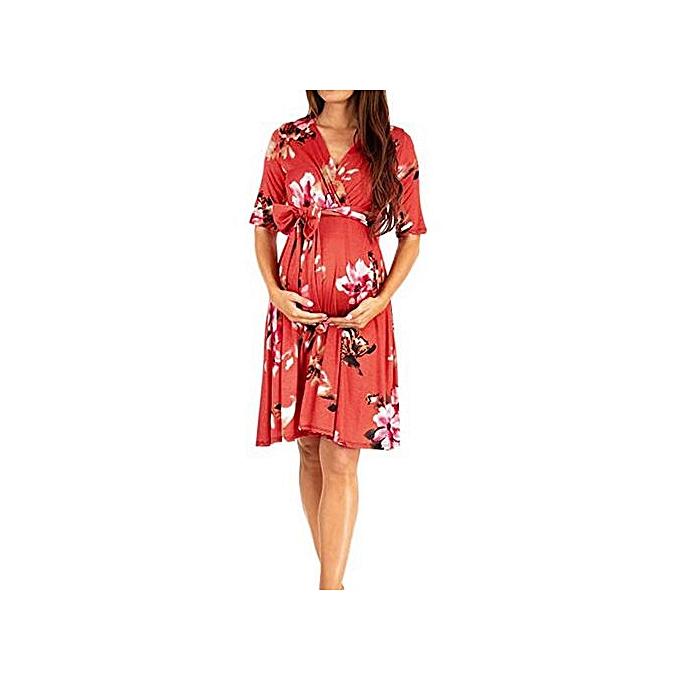 mode Tectores femmes& 039;s Pregnancy Floral Print Robe Maternity manche courte SunRobe Clothing à prix pas cher