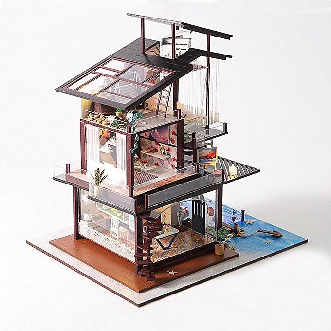OEM Valencia Coastal Villa Doll House Miniatures Furniture Kit Enfants Gift DIY Toy à prix pas cher