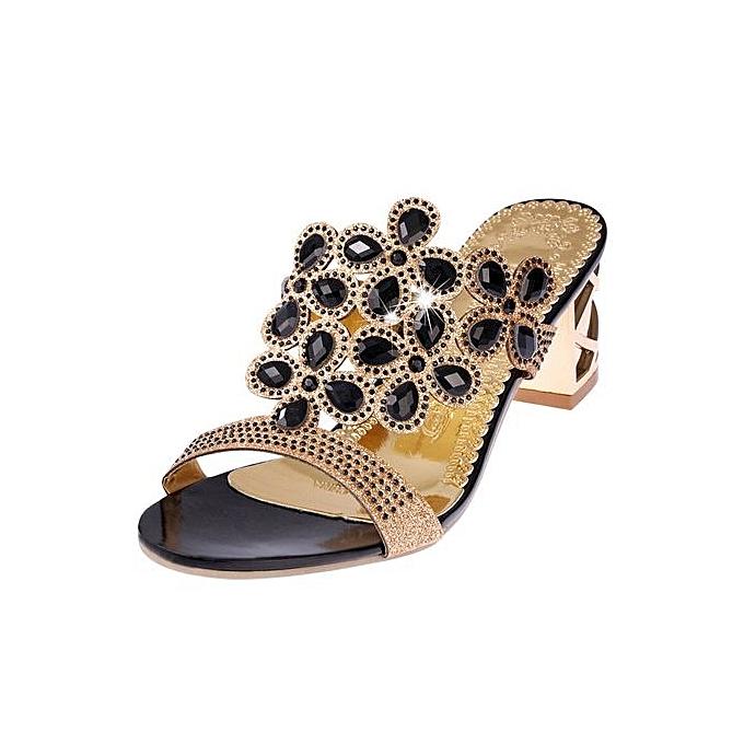 Fashion Jiahsyc Store femmes Summer Fashion Flip Flops High Heel Sandals Fat Girls Rhinestone chaussures -noir à prix pas cher