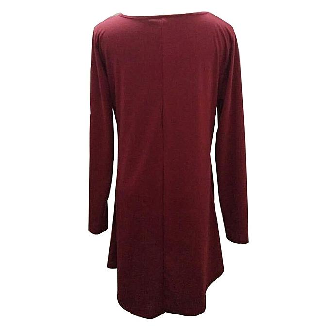mode femmes Loose Décontracté O-neck manche longue Ruffles Mini Robe à prix pas cher