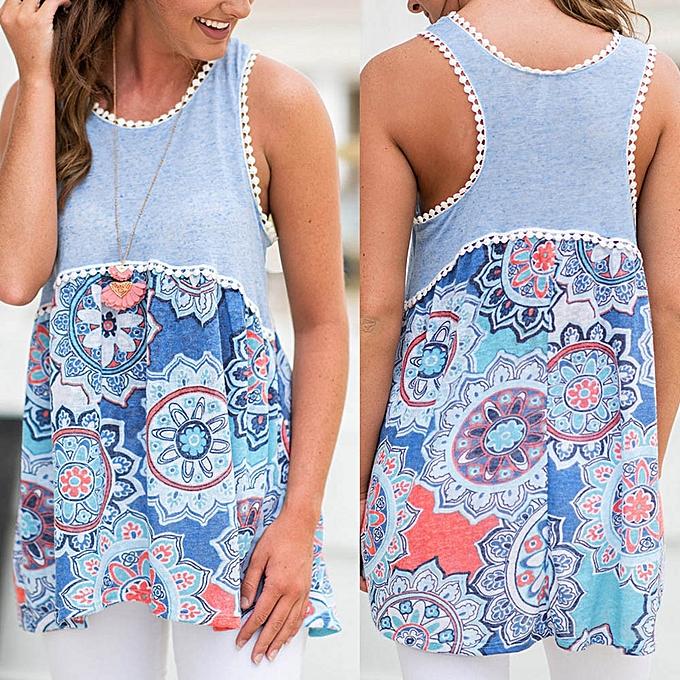 Generic Generic femmes Sexy Printed Sleeveless O-Neck Patchwork Irregular Hem Tank T-Shirt Tops A1 à prix pas cher