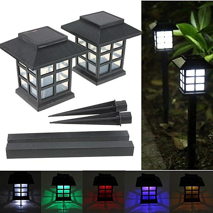 UNIVERSAL 2pcs Outdoor Solar Oriental LED Lawn Path Yard Garden Light Landscape Stake Lamp Pure blanc à prix pas cher