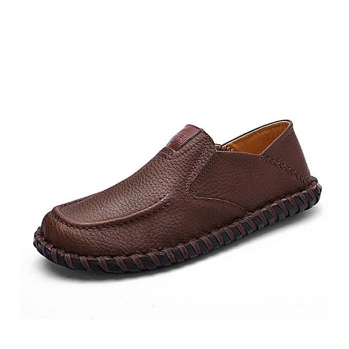 Fashion Men Soft Breathable Flat chaussures Casual Outdoor Leather Slip On Oxfords à prix pas cher