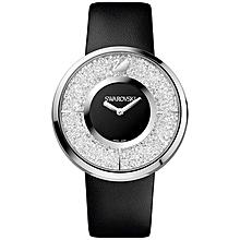 dbae07bf05f24d Montre Femme Swarovski - Quartz Analogique - Cadran Noir - Bracelet Cuir  Noir