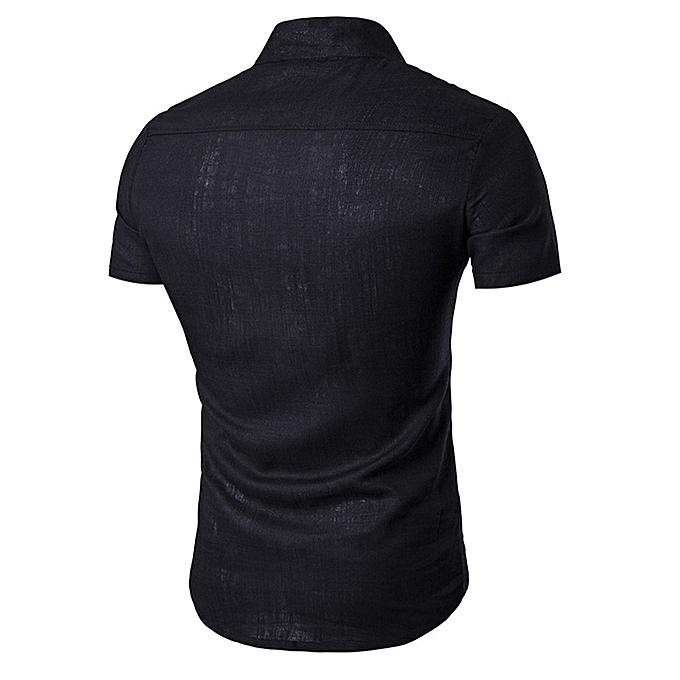 Fashion jiuhap store  Men Stand Neck Short Sleeve Daily Look Linen Shirts Tops Blouse BK L à prix pas cher