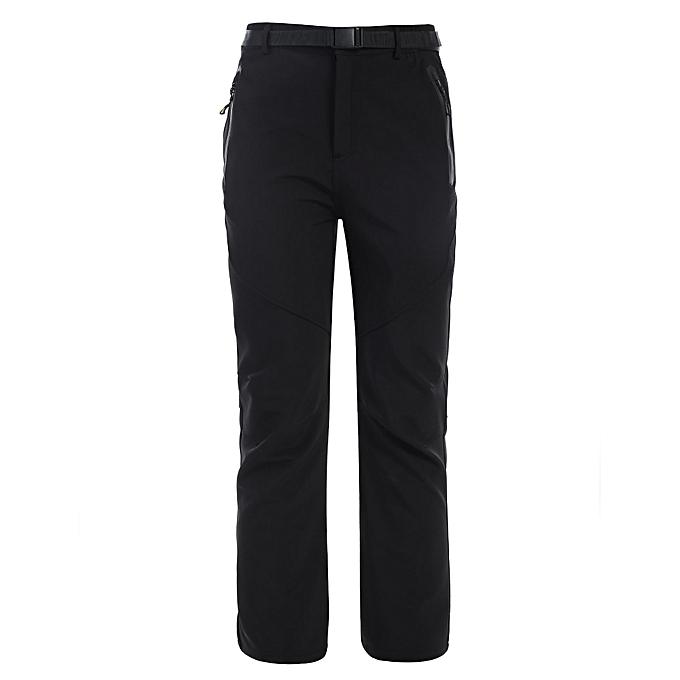 Sunshine New Men Outdoor Thick Fleece Lining Waterproof Hiking Mountain Long Pants with Belt-noir à prix pas cher