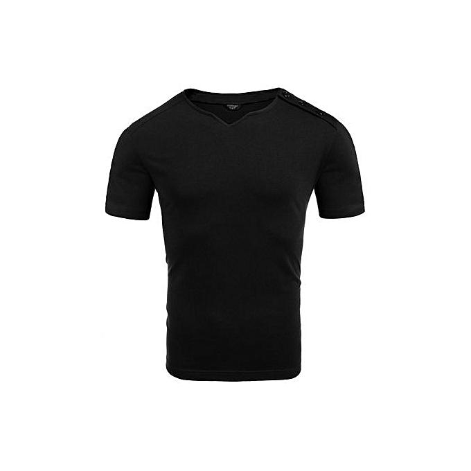 COOFANDY Hommes& 039;s Notch Neck Button manche courte été Décontracté T-Shirt-noir à prix pas cher