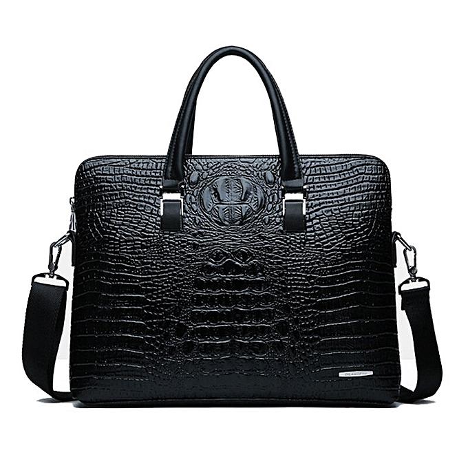 Other Men Briefcases Leather Crocodile Pattern Messenger Shoulder Bag Handbags Male Business Brand Briefcases Casual Men Laptop Bag(noir) à prix pas cher