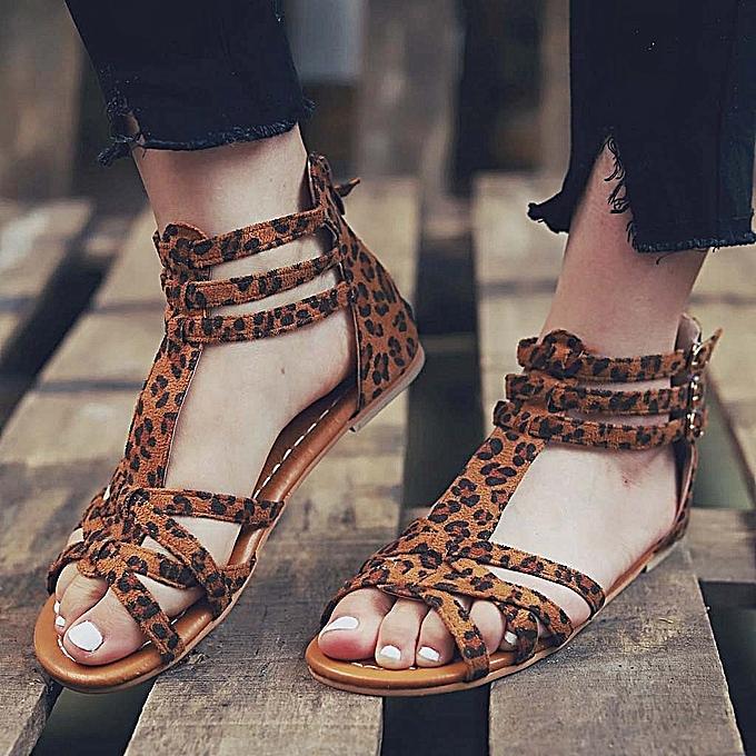 Fashion Summer Fashion Sandals Buckle Strap Flat Leopard Retro Peep Toe Sandals-marron à prix pas cher    Jumia Maroc