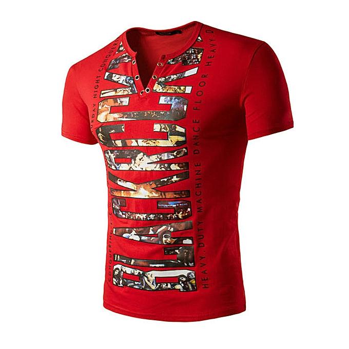 Fashion Hiamok Fashion Men V Neck Printed Short Sleeve Slim Fit Casual T-shirts Shirt Top RD M à prix pas cher