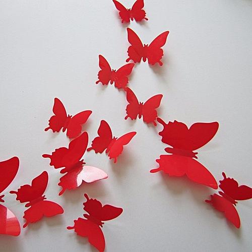 UNIVERSAL 12pcs 12 couleurs 3d brillant papillon sticker mural ...