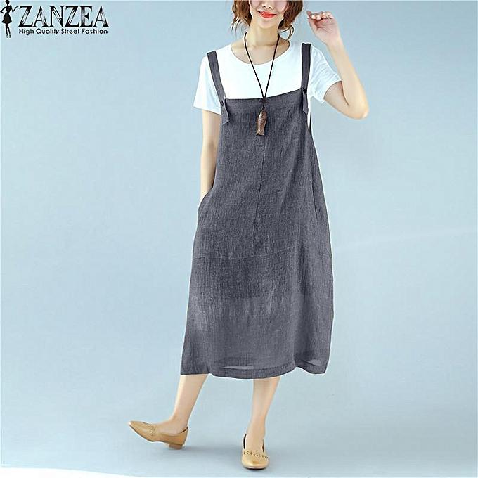 Zanzea ZANZEA femmes Summer Sleeveless Strappy Long A-line Vest Shirt Dress Tops à prix pas cher
