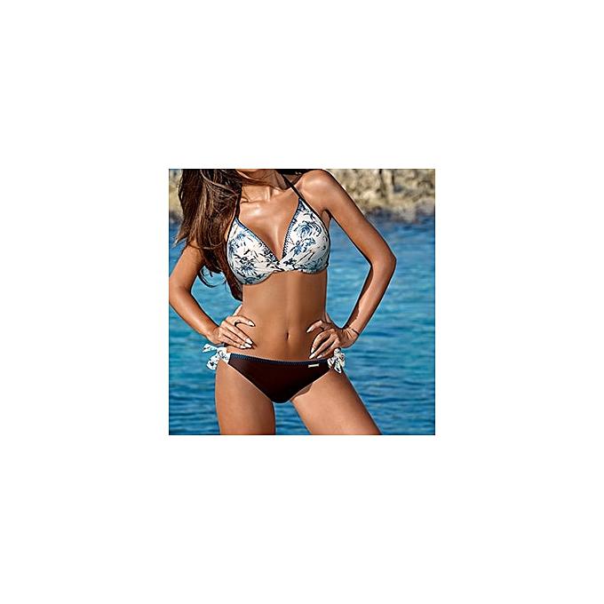 Autre y vintage brand sale solid print floral halter 2XL push up girl femmes bikini set patchwork wire free femmes swimwear swimsuit(3) à prix pas cher