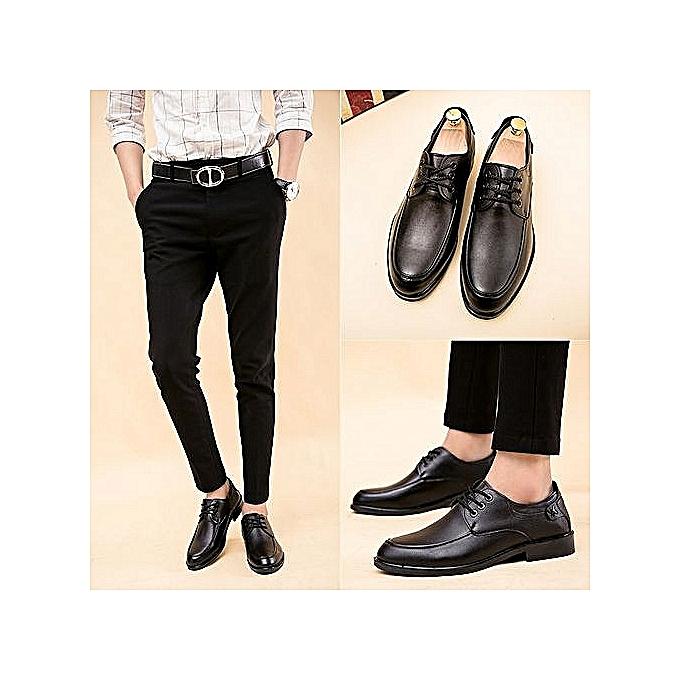 Fashion Men's New Short Dagger Tips Dress Small Suit Slim Fit chaussures—balck à prix pas cher    Jumia Maroc