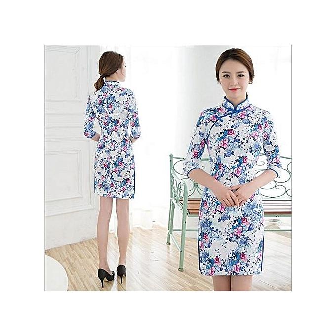 Fashion Wings Fashion Style Slim Cotton Cheongsam Mini Dresses Formal Dress (Couleur c0) à prix pas cher