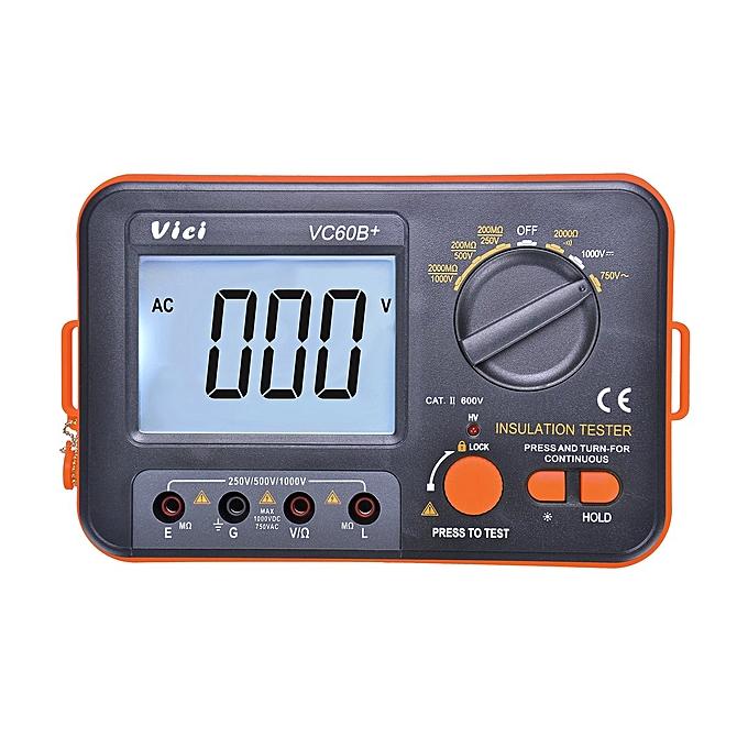 Generic VC60B + Testeur d'isolation numérique Megger MegOhm mètre DC250   500   1000V AC750V à prix pas cher