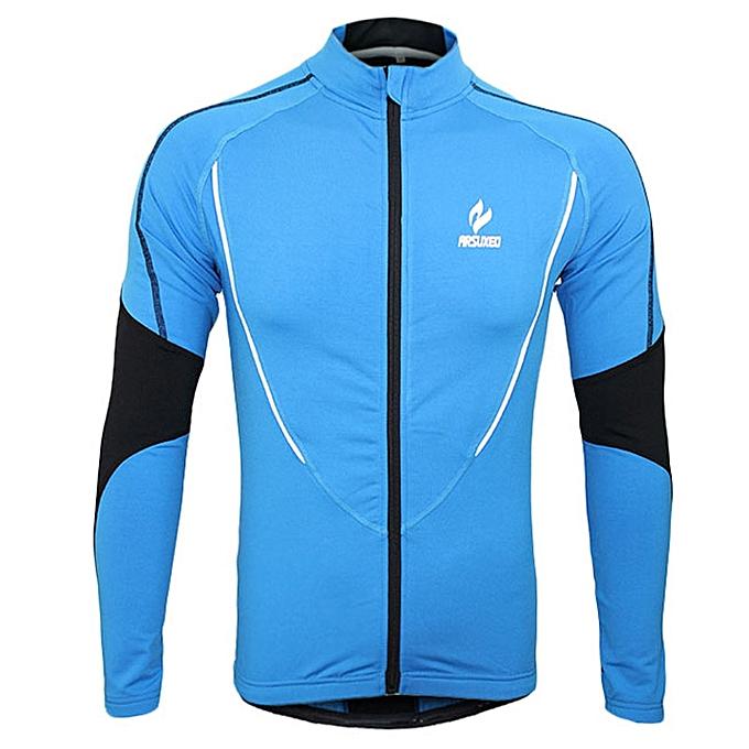 Generic ARSUXEO 130021 Fleeces Male Biking Jersey Long Sleeve Sportswear Outdoor Cycling Running Clothes(bleu) à prix pas cher
