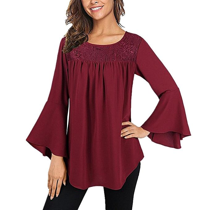 Generic Generic mode femmes& 039;s Bell Sleeve Round Neck Lace chemisier Shirt hauts  A1 à prix pas cher