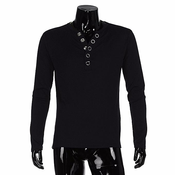 Fashion Men's Autumn Long Sleeve Solid Sweatshirt Tops Blouse BK L à prix pas cher