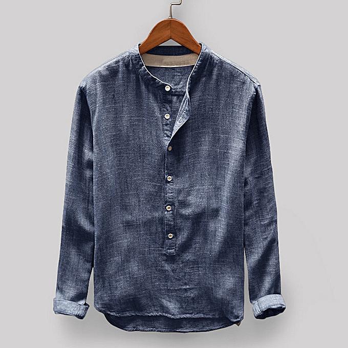 Fashion Fashion Mens Autumn Winter Button Casual Linen and Cotton Long Sleeve Top Blouse -Navy à prix pas cher
