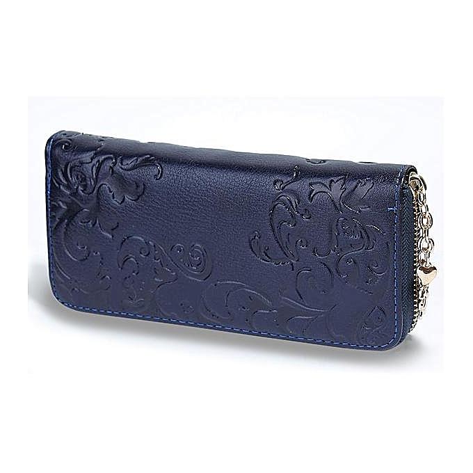 OEM Vintage Flower femmes Purse Medium-Long PU leather Zipper Wallet bleu à prix pas cher