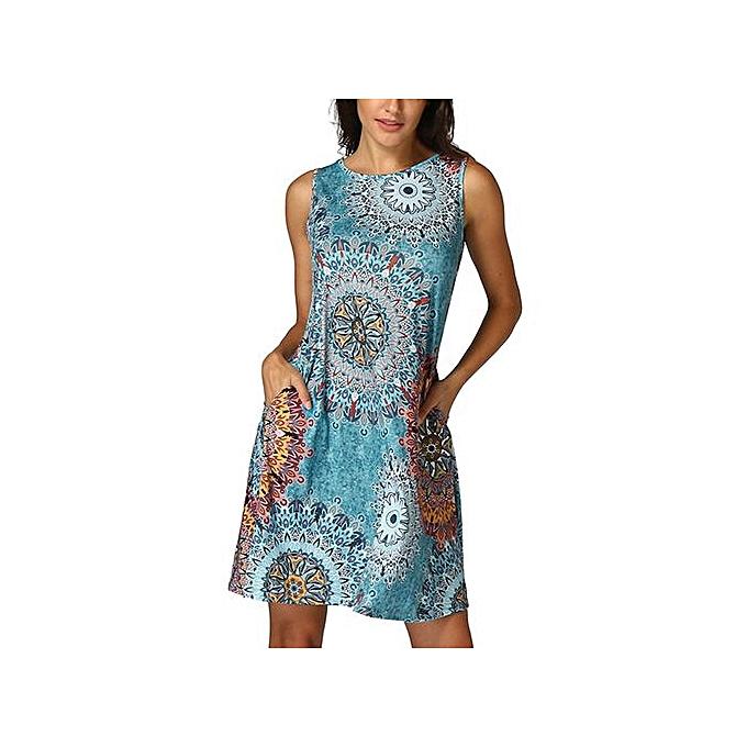 Fashion Xiuxingzi femmes Sleeveless Vintage Boho Maxi Evening Party Beach Floral Dress à prix pas cher