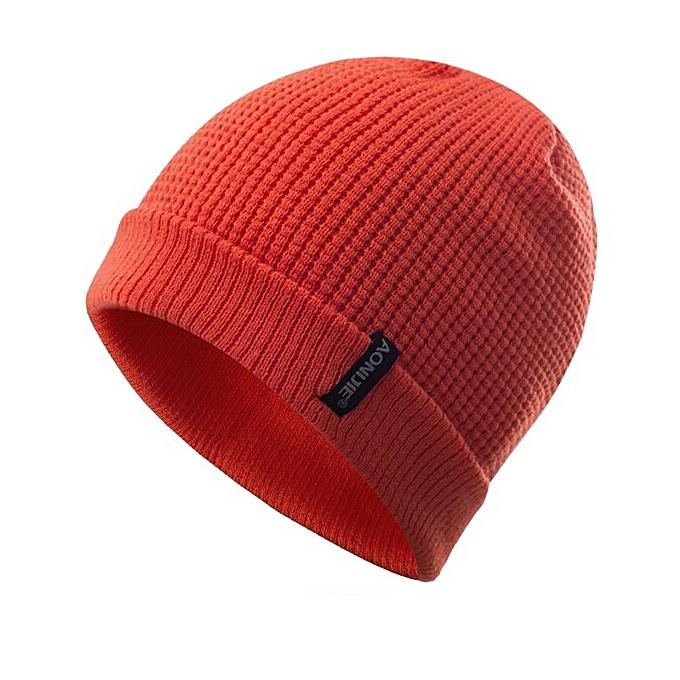 AONIJIE Winter Windproof Thick Warm Running Cap Winter Knitted Hats Snowboarding Cap Ski Running Caps Outdoor Sports(Orange) à prix pas cher