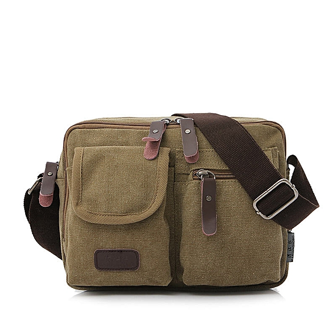 Other mode toile bandoulière sac For Hommes petit Vintage Zipper Shoulder Messenger sac For garçons Décontracté bandoulière Satchel sac Hommes 1134(Khaki) à prix pas cher