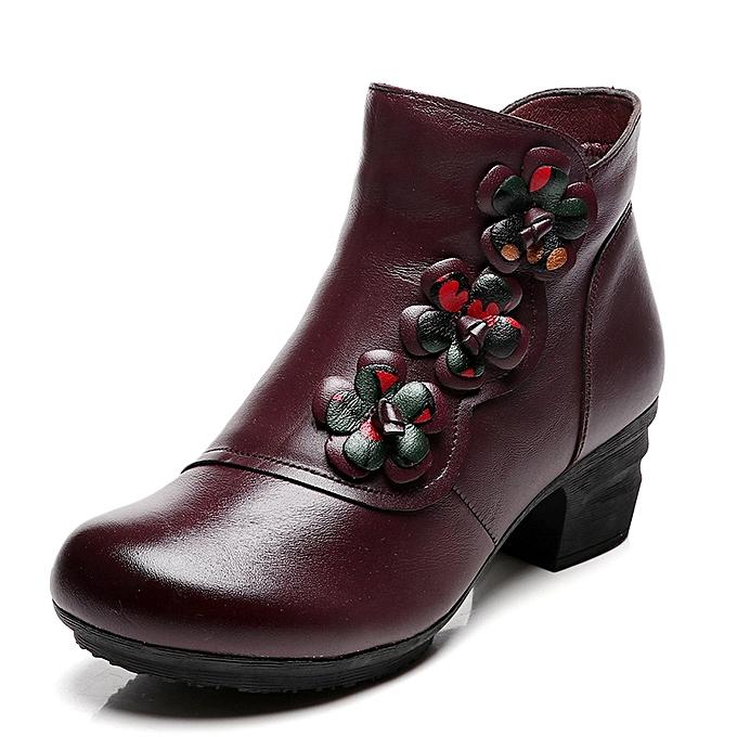UNIVERSAL WoHommes  Vintage Genuine Leather Flower Vintage  Mid Heel Boots Warm Fur Lining Short Shoes à prix pas cher  | Jumia Maroc 1fdbbc