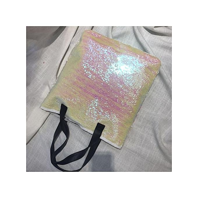 Neworldline Double Couleur Sequins Handbag Shoulder Bag Tote Ladies Purse- blanc à prix pas cher