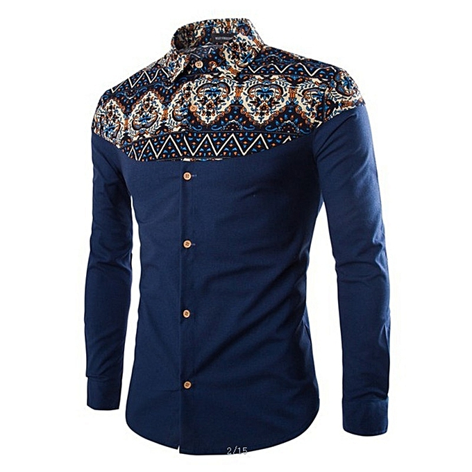 Other New Stylish Men's Turtleneck  Long-sleeved Printed Shirt à prix pas cher