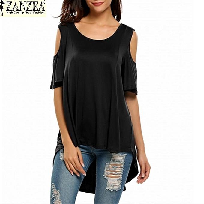 Zanzea ZANZEA femmes& 039;s manche courte Shirt Cut Out Irregular Hem Loose Tee Shirts Cold Shoulder T-shirt (noir) à prix pas cher