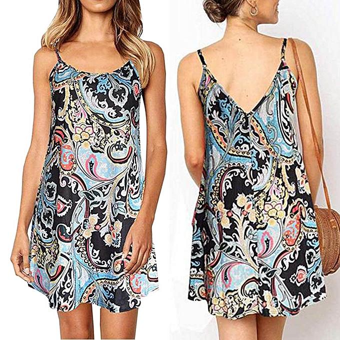 mode femmes Boho été  O-Neck Sleeveless Sling Floral Printed Loose Mini Robe à prix pas cher