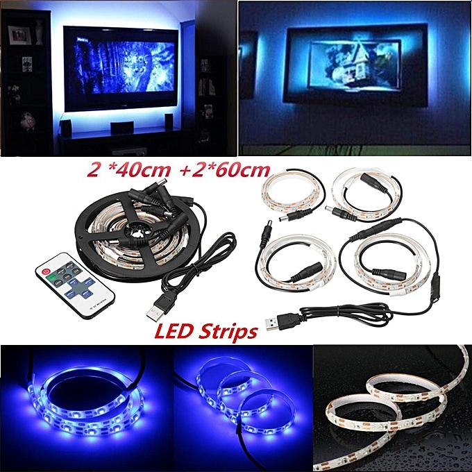 UNIVERSAL Colour Changing 5V RGB 5050 LED Strip USB TV Background PC Mood night Light lamp (bleu) à prix pas cher