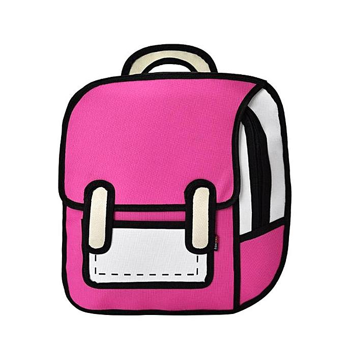 Other Flyone mode Cute Student sacs femmes sac à dos 3D Jump Style 2D Drawing voituretoon Back sac Comic Uni Knapsack Bolos FY0189 Z70(9) à prix pas cher