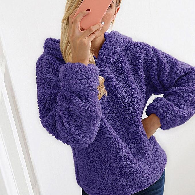 mode Xiuxingzi femmes Décontracté Solid sweat à capuche O-Collar Full Sleeve Warm Jumper Outwears Top chemisier à prix pas cher
