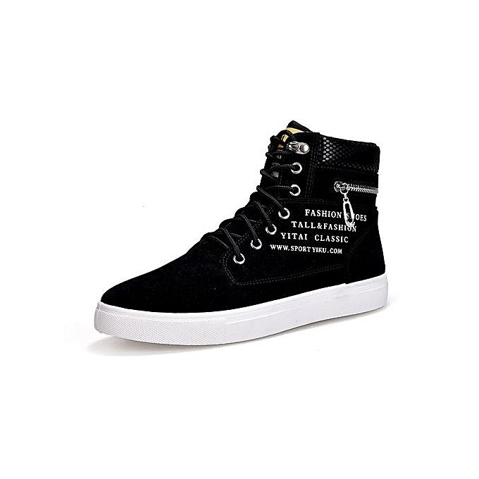 mode Hommes bottes cuir Footwear For Man High Top toile Décontracté chaussures-noir à prix pas cher